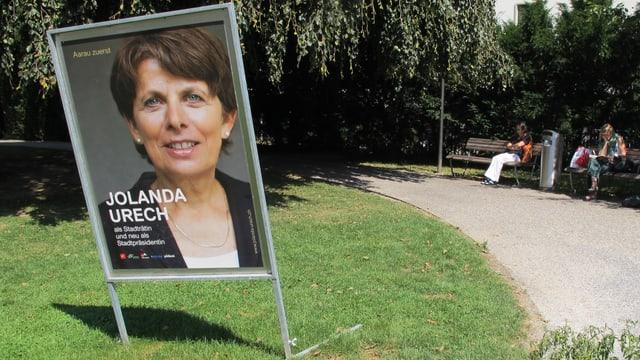 Wahlplakat von Jolanda Urech im Kasinopark.