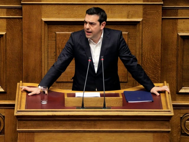 Alexis Tsipras bei seiner abendlichen Rede im Parlament.