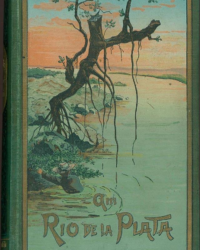 Buchumschlag, gezeichnet: Ein Fluss, ein abgestorbener Baum. Ein Mann hiervt sich ans Ufer.