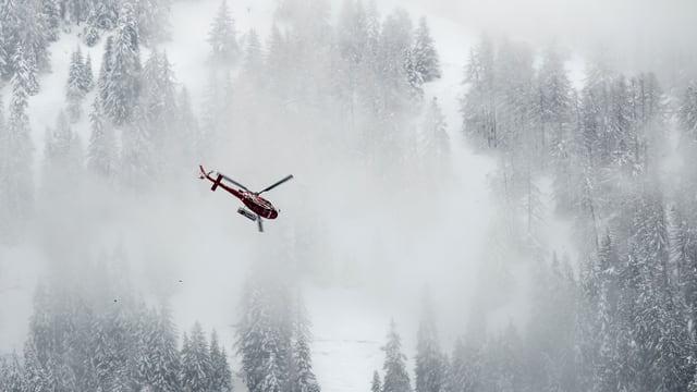 Helikopter fliegt durch den Nebel, im Hintergrund Schnee und Tannen.