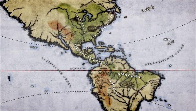 Karte mit den Kontinenten Nord- und Südamerika