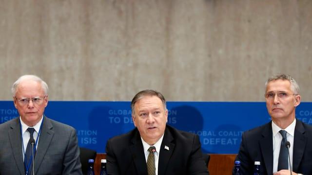 James Franklin Jeffrey, US-Aussenminister Mike Pompeo und Jens Stoltenberg