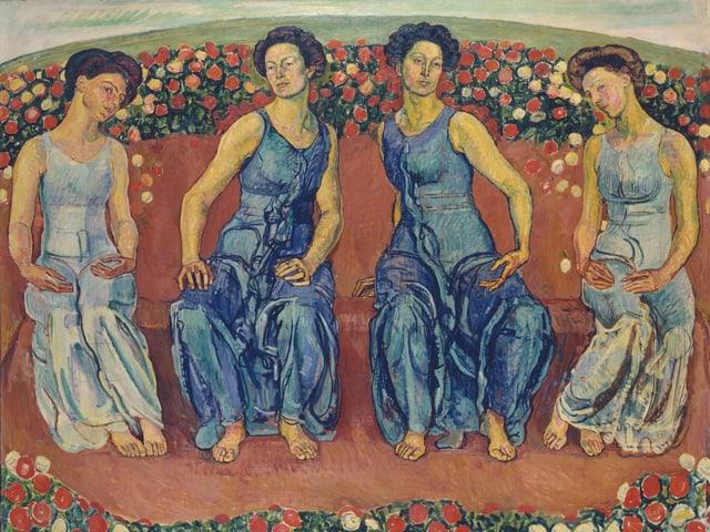 Vier Frauen auf einem Bild von Ferdinand Hodler.