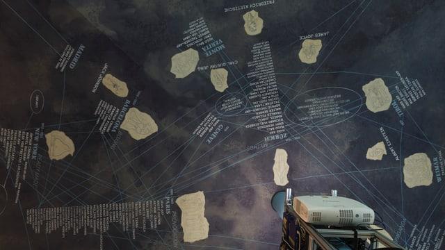 Eine Projektion im Cabaret Voltaire visualisiert das Netz der Dada-Bewegung