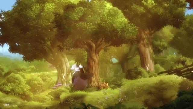 Ori und Naru rütteln an einem Baum.