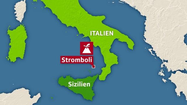 Karte Italiens mit Verortung und Markierung von Stromboli.