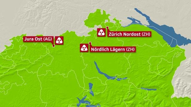 Karte mit den drei möglichen Standorten Jura Ost, Nördlich Lägern und Zürich Nordost.