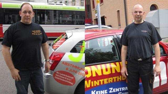 Andreas Weibel und Thommy Schönenberger vor ihren Taxis.