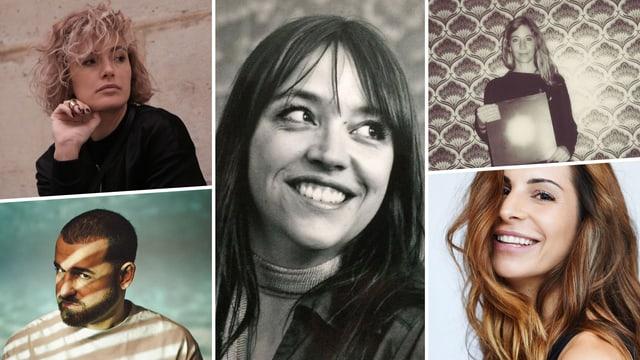 Alle fünf Künstler*innen in einer Collage