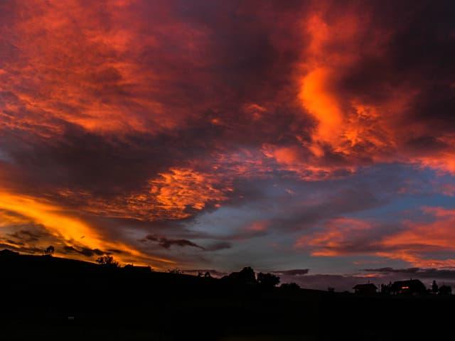 Unten schwarze Konturen, oben leuchtende rote und orange Wolken. Kleine blaue Fenster am Himmel.