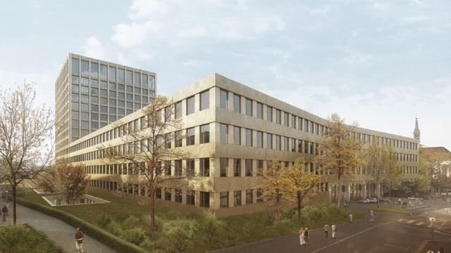 Neues Klinikum 2 mit Turm im Hintergrund.