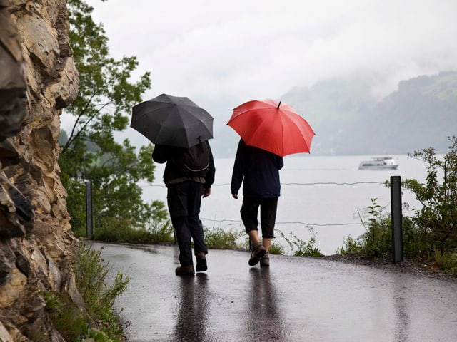 Zwei Wanderer mit Regenschirm am Ufer des Walensees