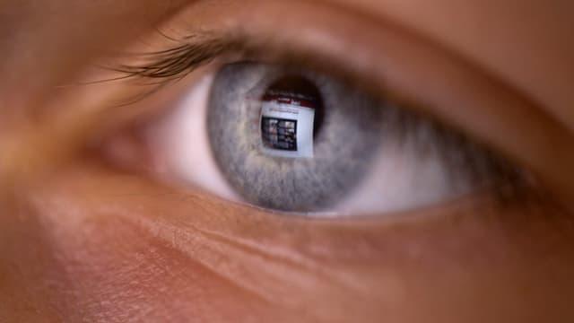 Männliches Auge mit Spiegelung eines Bildschirms.