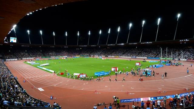 Blick in das Letzigrund-Stadion am Tag von Weltklasse Zürich.