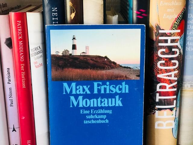 Auf einem Regal stehen die gesammelten Werke von Max Frisch