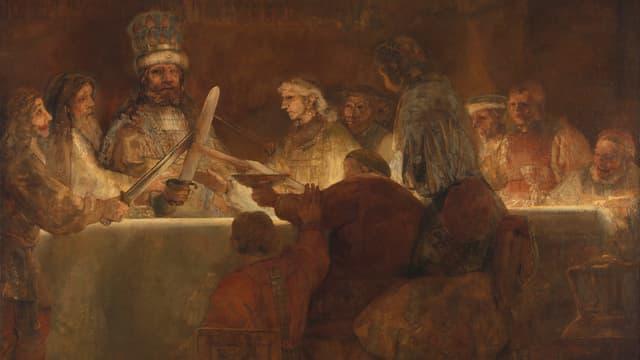 Gemälde: Männer sitzen an einem Tisch. Einige von ihnen halten Schwerter in die höhe und kreuzen sie in ihrer Mitte.