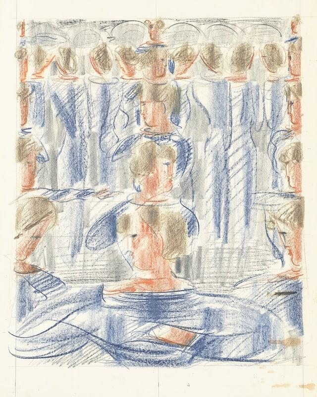 Zeichnung mit Ölkreide und Bleistift: aneinandergereihte Frauen.