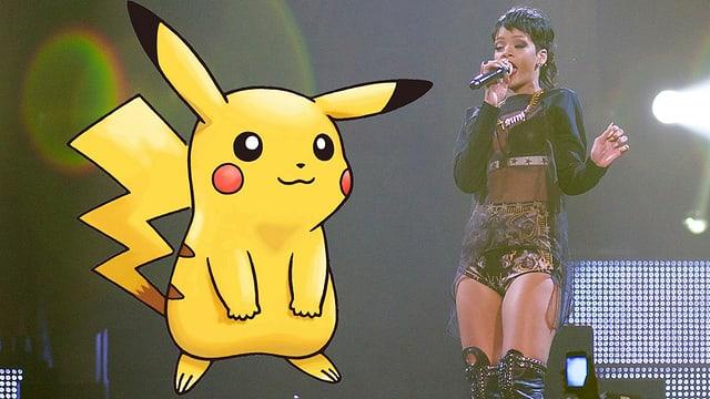 Rihanna singt in knappem Kleid an einem Konzert.