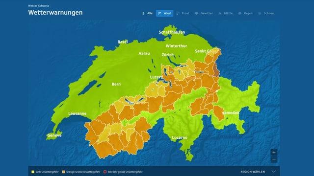 Eine Schweizerkarte zeigt die gewarnten Gebiete.