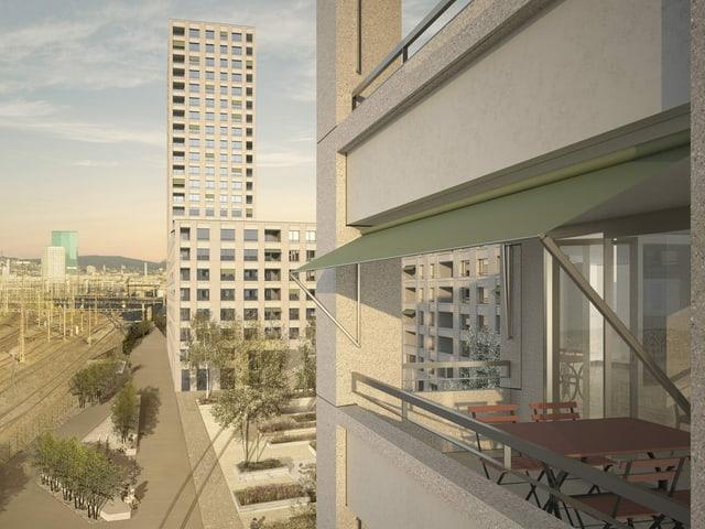 Blick auf neue Siedlung Letzi