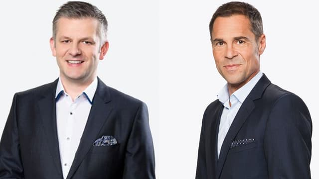 Rainer Maria Salzgeber (links) moderiert neu bei der Nati, Matthias Hüppi bei der Champions League.