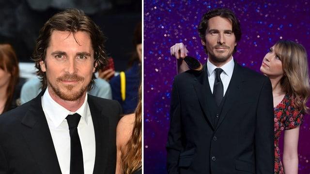 Splittscreen mit dem echten Christian Bale und der Wachsversion