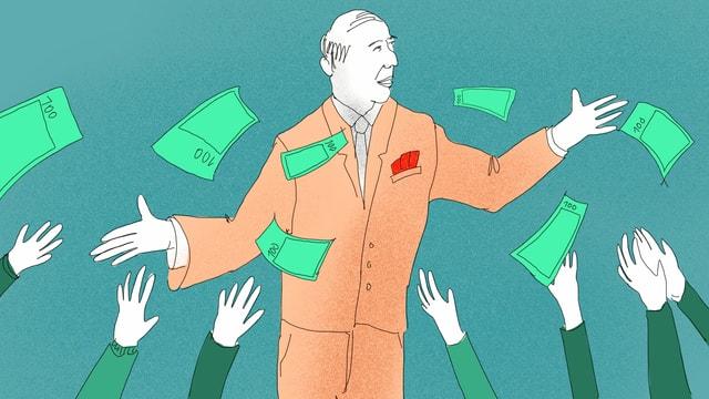 Ein Mann gibt 100-Franken-Scheine aus.
