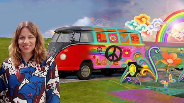 Andrea Vetsch vor Hippiebus