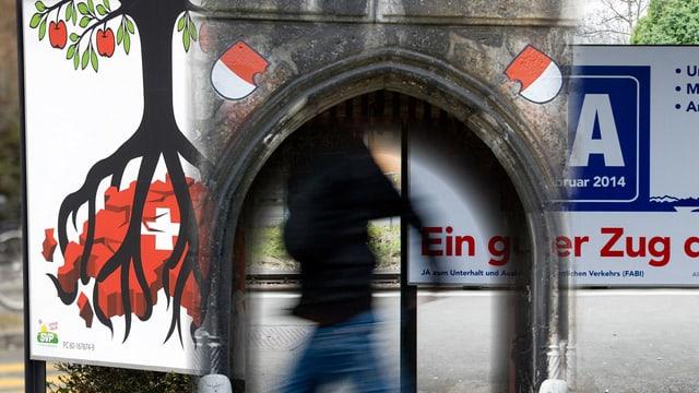 Wahlplakate, dazwischen das Baseltor mit Solothurner Wappen