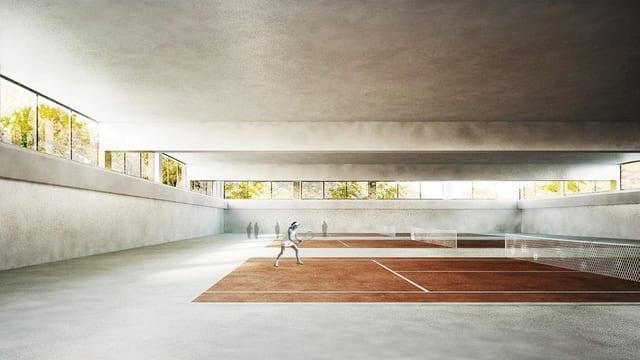 Visualisierung der neuen Tennishalle
