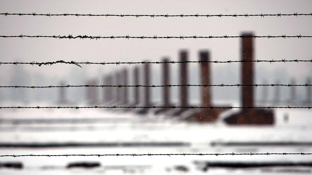 Kamine hinter Stacheldraht. Eine Aufnahme des Auschwitz-Birkenau-Todeslagers von 2010.