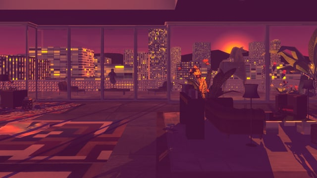 Ein Sonnenuntergang durch das Balkonfenster eines Luxus-Penthouses gesehen.