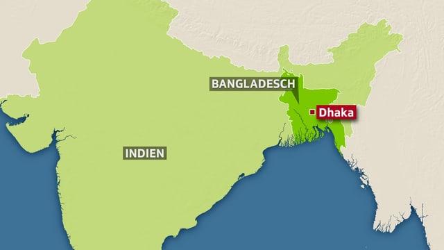 Karte mit Bangladesch und Indien und Markierung von Dhaka.