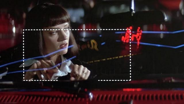 Filmszene aus «Pulp Fiction», in der Uma Thurman mit den Fingern ein Rechteck in die Luft zeichnet.
