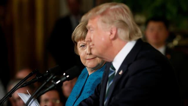 Merkel bei ihrer Medienkonferenz mit Trump am 17. März 2017