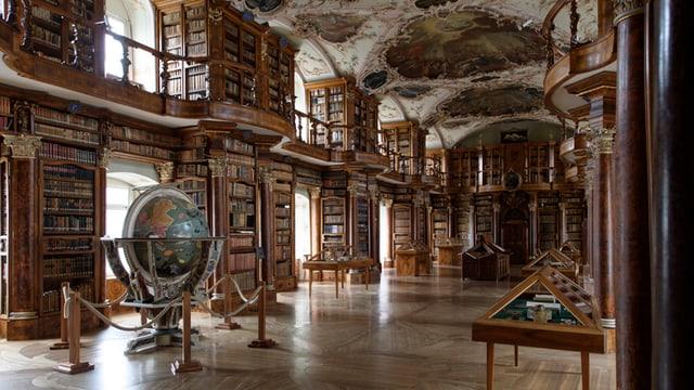 Stiftsbibliothek: Globus, gemalte Decke, Bücherregale