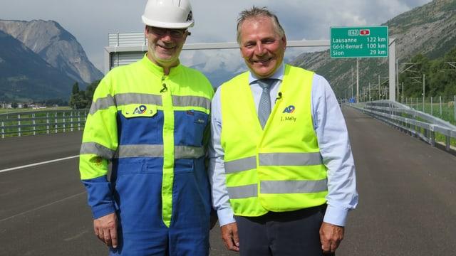 Martin Hutter und Jacques Melly auf der Autobahn A9.