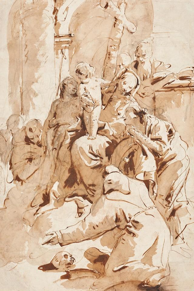 Ein weiss-beiges Gemälde mit einem Kind vor einem Kreuz.