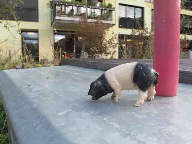 Plastikschweinchen zur Zierde.