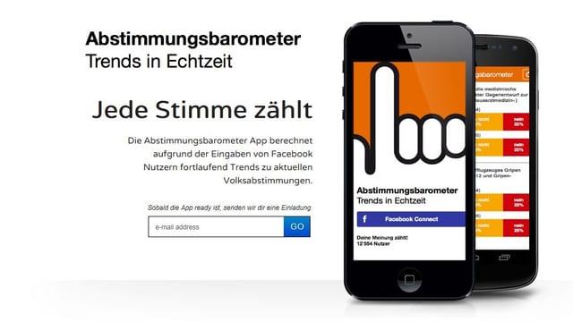 Ein Smartphone mit der Abstimmungs-App auf dem Bildschirm.