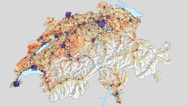 Statistische Karte der Schweiz.