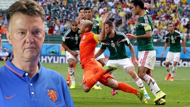 Louis van Gaal und die Schwalbe von Arjen Robben gegen Mexiko.