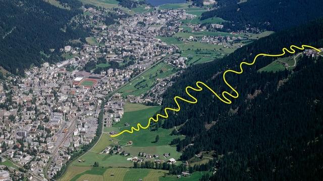 regiun da Tavau, cun mellen è inditgà la ruta da la nova via da velos da muntogna