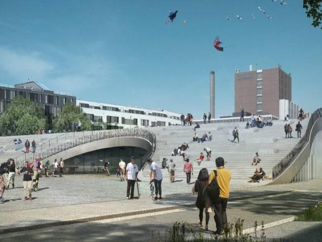 Blick auf ein wellenförmiges Gebäude. Es ist eine Visualisierung der neuen Trensporthalle.