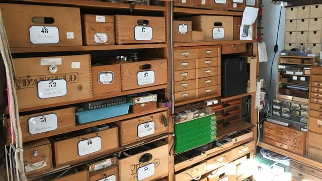 Alte Schubladen aus Holz, jeweils angeschrieben und nummeriert.