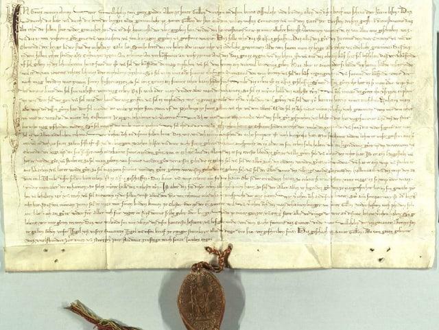 Urkunde aus dem Jahr 1291