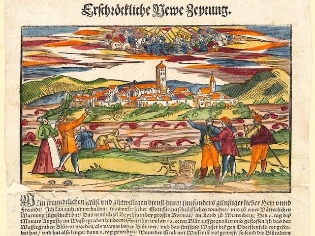 Flugblatt: Blutrot verfärbte Wasser im Graben und eine Schlacht im Himmel.