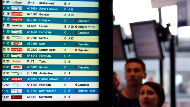 Flugpassagiere blicken auf die Anzeigetafel.