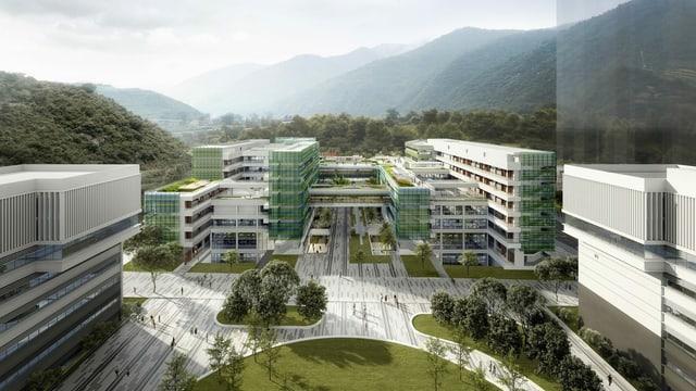 eine Visualisierung eines modernen Campus, umringt von Grünflächen