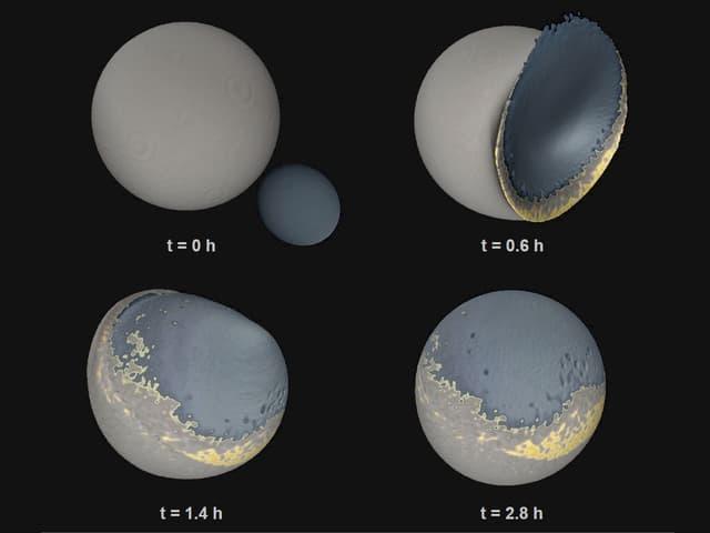 Simulation der Mondkollision